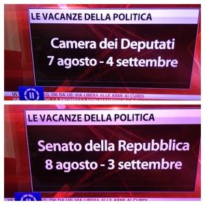 Piano Ferie 2014 del Parlamento italiano
